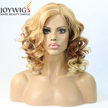 Qingdao Best Supplier Pretty Blonde Wavy Girl Human Hair Wig unprocessed Brazilian Human Hair 3T Color Super Wave Full Lace Wig