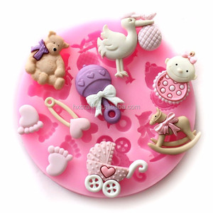Baby Shower Party 3D Silicone Fondant Mold For Cake Decorating free shipping Party 3D Silicone Fondant Mold