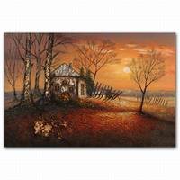 Abstract sunrise beautiful village scenery oil painting for home decoration