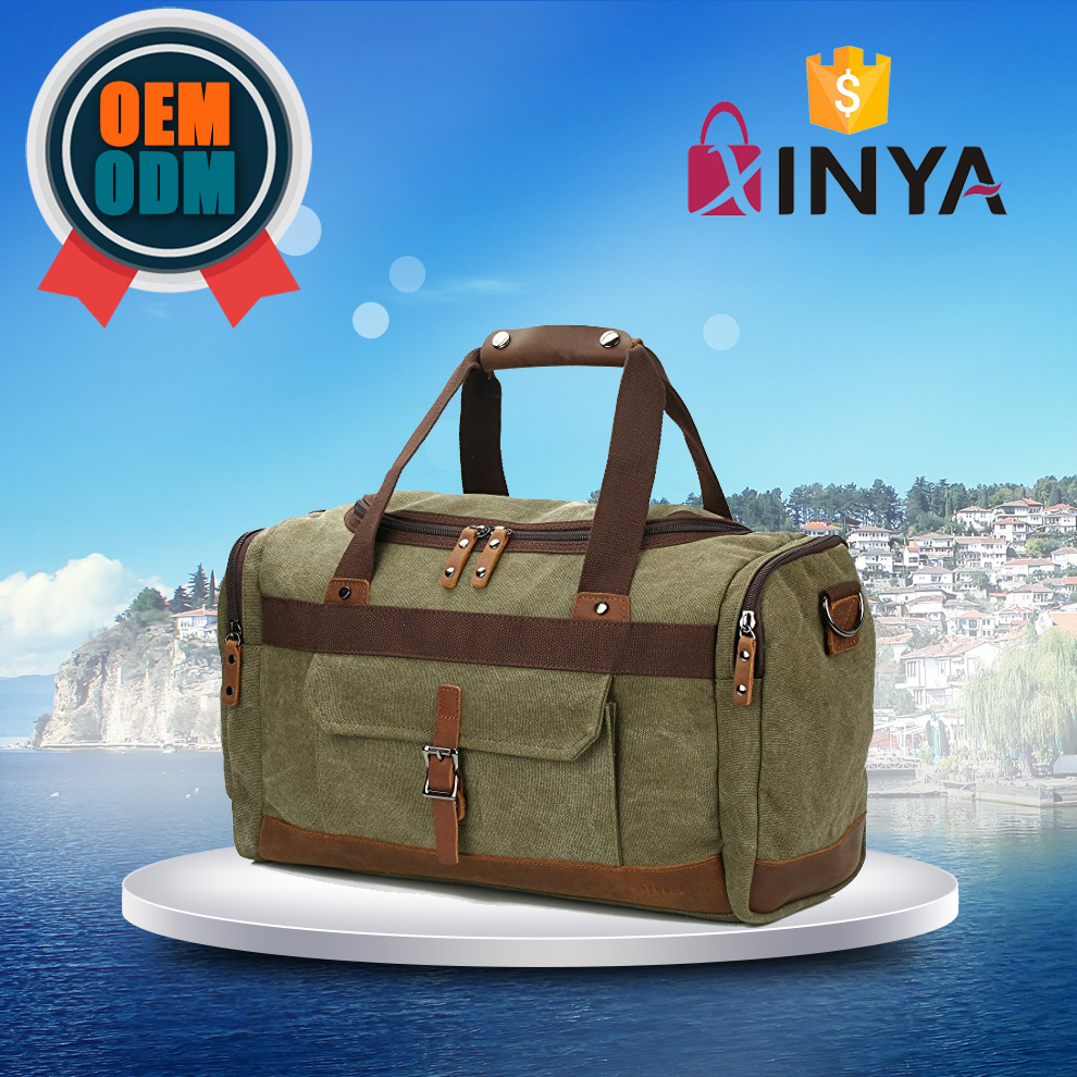 Outdoor adventure Bag Canvas Genuine Leather Vintage Travel Duffel Bags