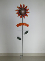 Metal Sunflower Garden Stakes with Welcome sign
