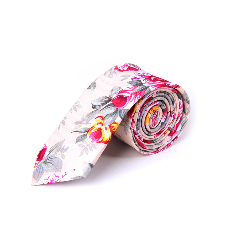 High quality red floral necktie 100% cotton fabric flower <strong>tie</strong> for wedding