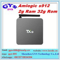 New arrival TX8 Android 6.0 Amlogic s912 TV Box octa core 2G 32G 2.4GHZ/5.8GHZ 802.11a/b/g/n Support OEM Set top box