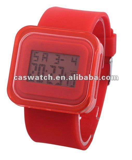 fashion square face chronometer electronic watch cheap chronograph silicone candy watch colorful silicone analog jelly watch
