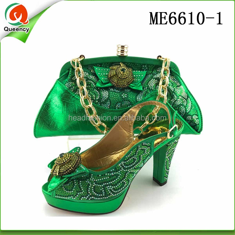 ME6610 Queency Female Ladies Green Italian Evening Shoes with Matching Bags 2017 New Fashion High Quality