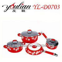 7PCS Flower Aluminum Decorative Cookware Set With Silk Screen