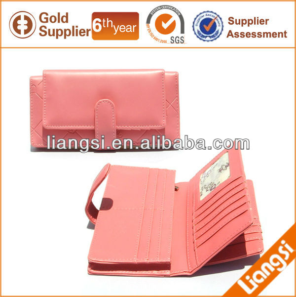 Elegant womens leather long zipper wallet