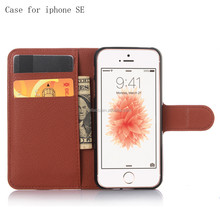 Litchi pattern PU leather card slot wallet phone case for iphone SE leather cell phone cover for iphone 5