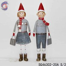 wholesale iron craft christmas boy and girl unique home decoration
