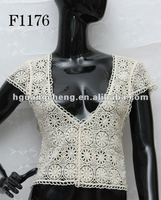 2012 fashion lace clothes F1176 cotton embroidered lace tops trim for mature ladies