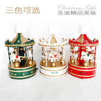 2017 Factory direct sale Christmas decorations Wooden music box Carousel music box