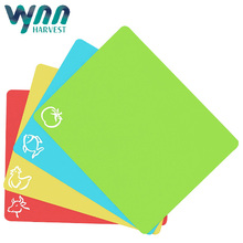 Extra Thick Flexible 4Pack Colorful Plastic Chopping Cutting Board Mats With Food Icons For Kitchen