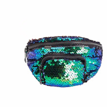 Unisex Sequin Fanny Pack Double Color Waist Pack Bum Purse Casual Outdoor Sports Sequin Waist Bag