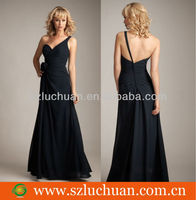 Sweetheart one shoulder black country bridesmaid dresses