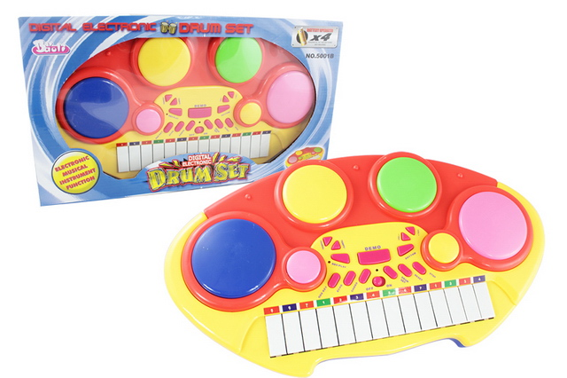 Plastic ABS musical instruments kids electronic drum set toy with EN71