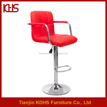 Tall rotary red patio bar chairs with adjustable chromed legs