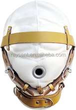 2017 hot selling Total Sensory Deprivation White Leather Hood bondage harness sm sex toys