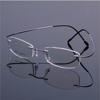 Rimless Titanium Glasses Frame Men Memory