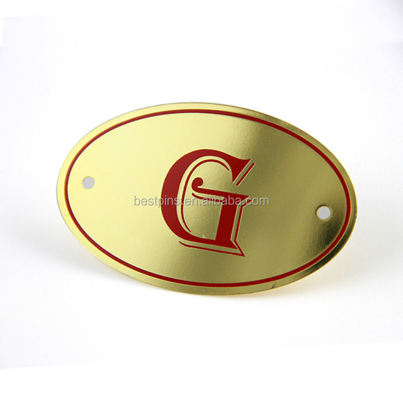 Photo Etched Gold Filled Oval Metal Nameplate Tags for Furniture