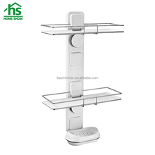 Multifunction bathroom organizer, double tier adhesive bathroom shelf with soap dish holder