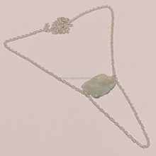 925 Sterling Silver Necklace, Natural Aquamarine Rough Gemstone Jewelry, Silver Jewelry