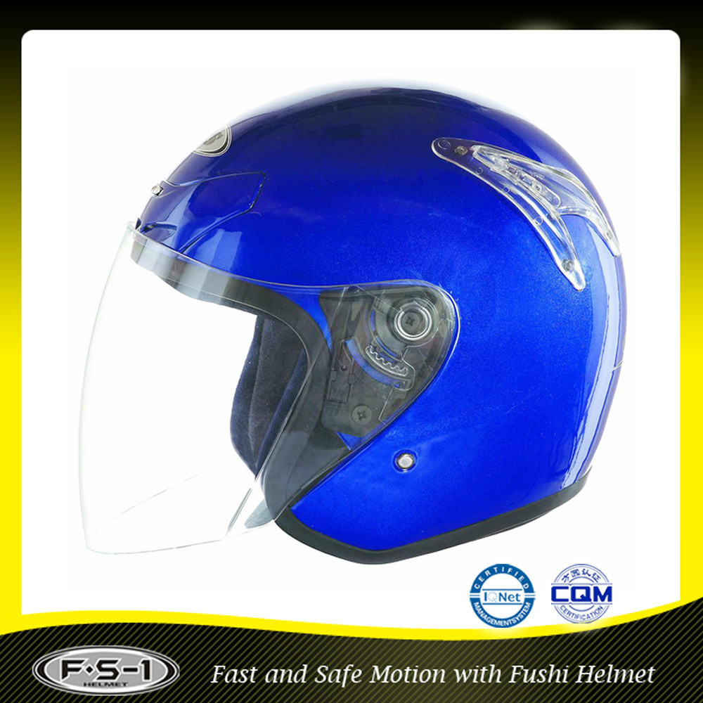 Youth boy blue motocycle open face helmet