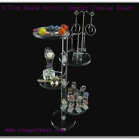 4 Tier Round Acrylic Jewelry Display Riser