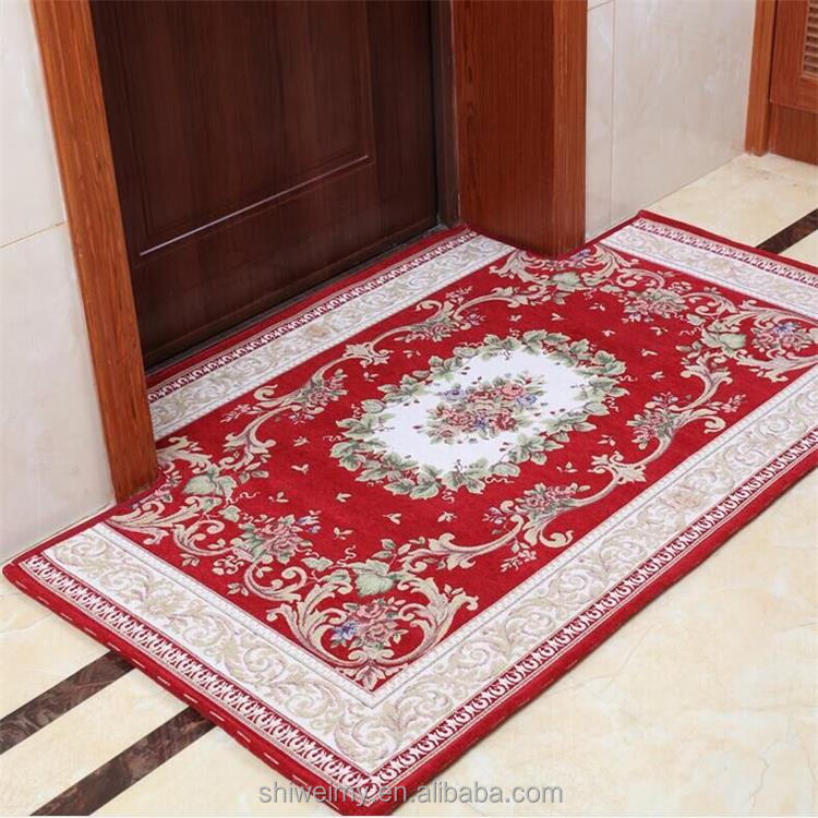Anti-slip floral braided polyester door area rug