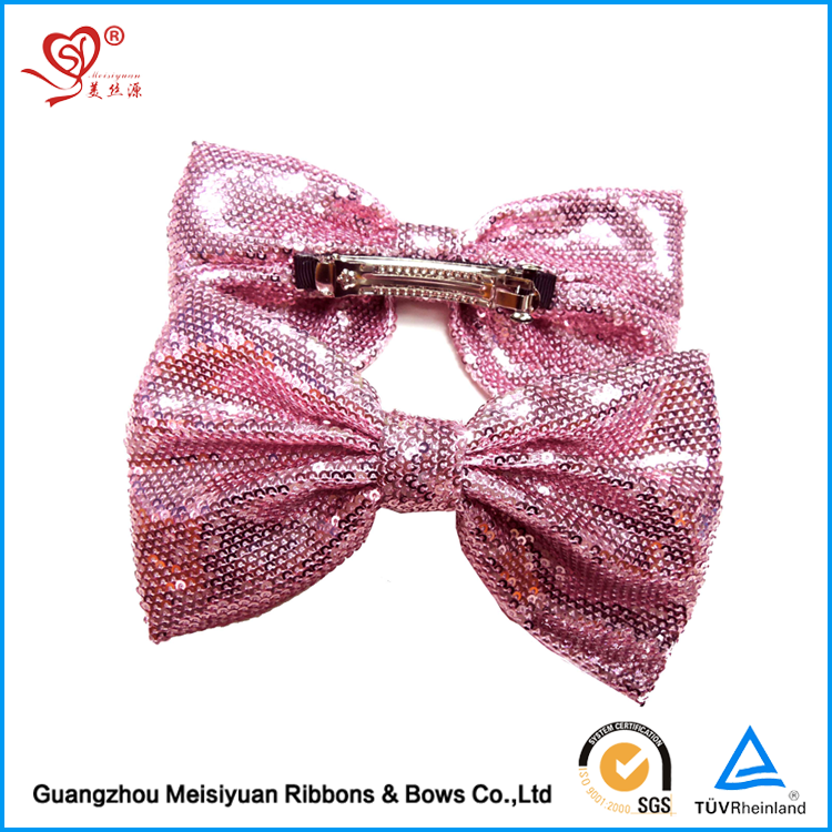 Hot Sale Girl Hair Ribbon Bow Bling Paillette Hair Bows Stage Performance Hair Ornament