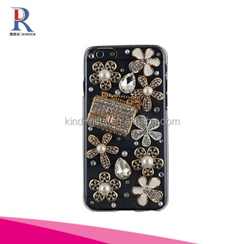 3D Handmade Crystal Butterfly Lingers Over The Flower Rhinestone Diamond Bling Clear Hard Case Cover for iPhone 6