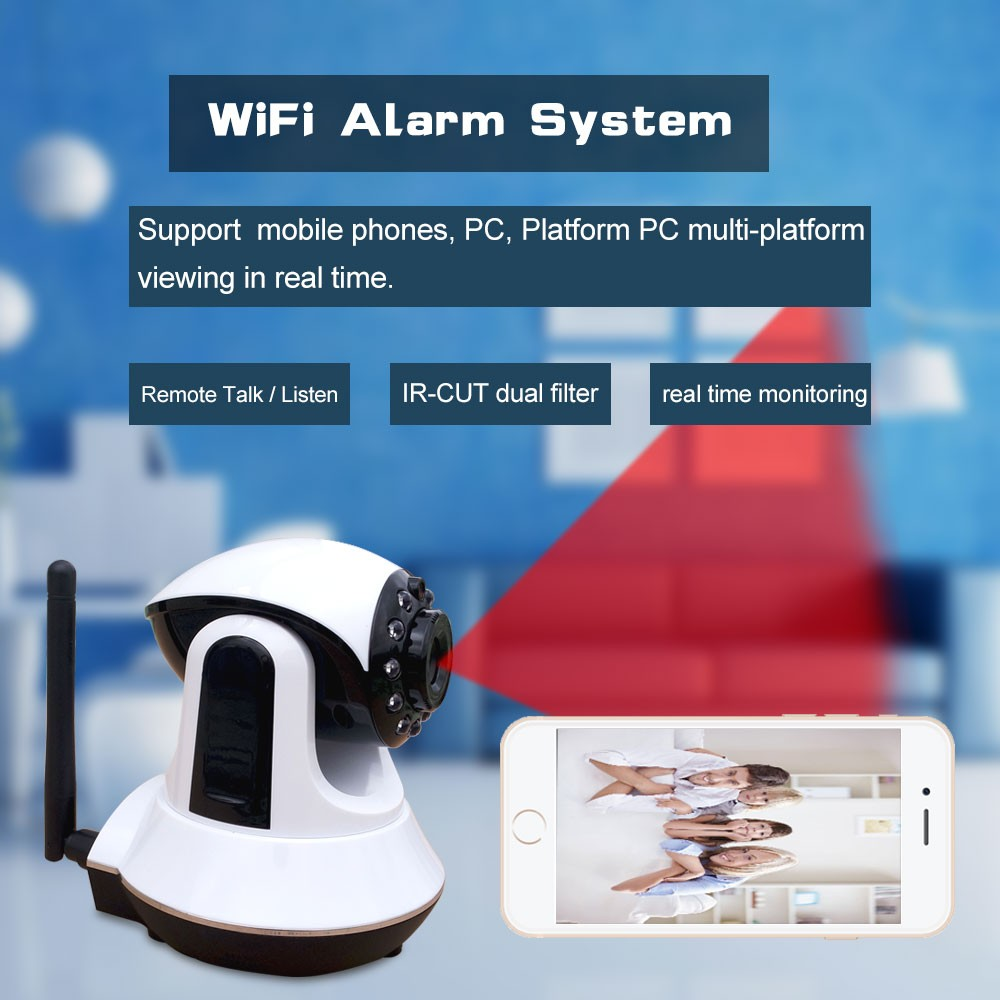GSM WIFI video camera alarm system support TCP/IP cloud server wireless camera system