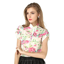 C58694S New Design Floral Blouses Chiffon Shirt Women Short Sleeve Blouses