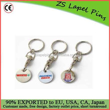 Free artwork design quality Iron stamped shiny nickel plated trolley coin keychain