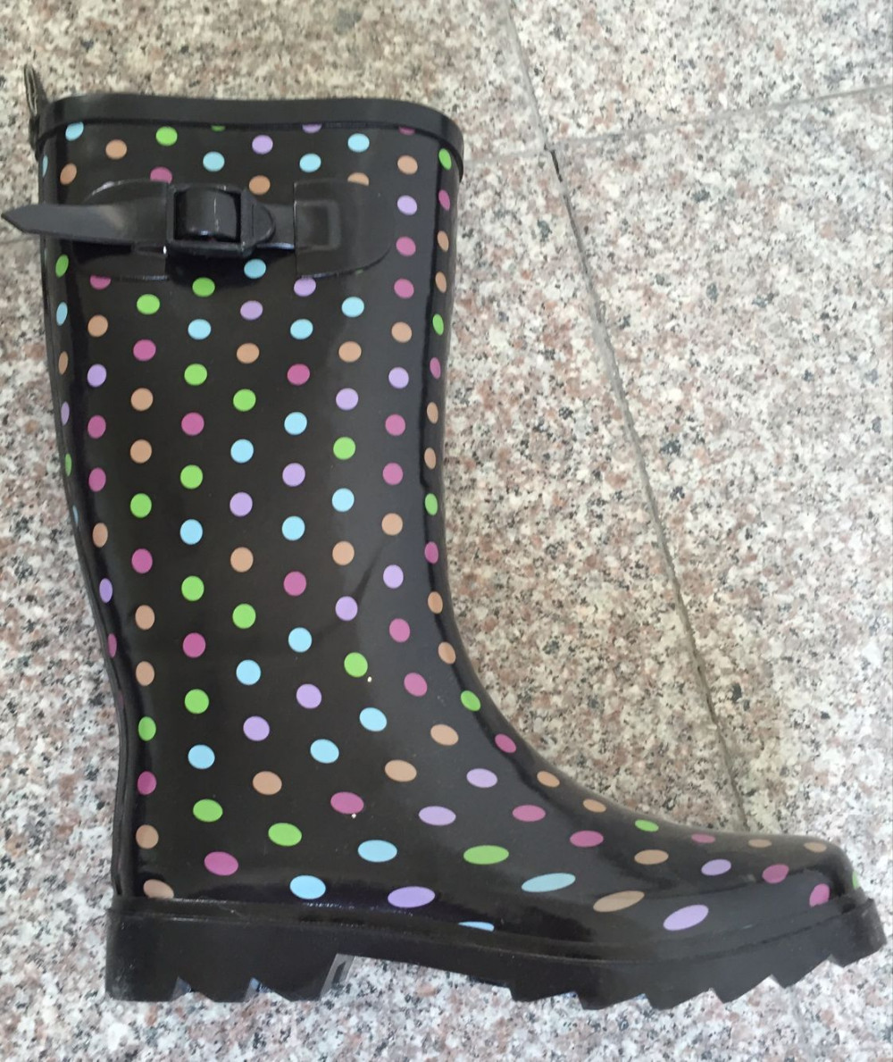 hot selling dot custom made women wellies wellington boots