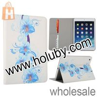 Blossoming Blue Lily Flowers Pattern Stand Flip Leather Case For iPad Mini For iPad Mini 2 Leather Case with Card Slot
