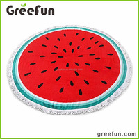 2016 China wholesale Luxury 100% Cotton Round Beach Towel with Watermelon Print 59 inch