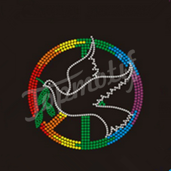 rhinestone iron on patches peace dove hot fix motif for garments