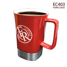 Eco-friendly durable ceramic and Stainless Steel travel coffee Mugs with ceramic handle and cover/ starbucks travel Mugs