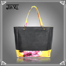 Patchwork PU and canvas tote handbag for women