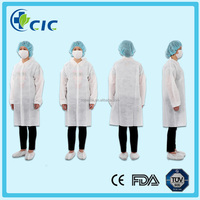 Disposable latex free PP+PE lab coat anti-static visitor gown visitor coat