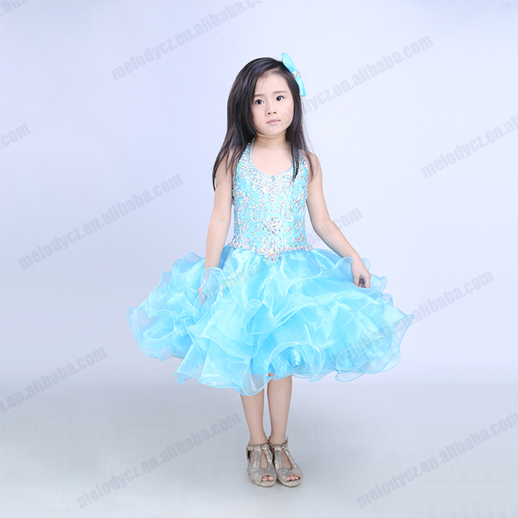 Paillette mini spaghetti strap layered birthday party baby blue girl dress