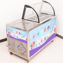 Sales promotion!!! Hot Sale China Thailand Double Flat Pan Roll Fry Fried Ice Cream Machine for importer