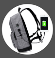 Wholesale Men's Classic Polyester Backpack With USB Charger, Custom Cheap Simple Blank Rucksack China
