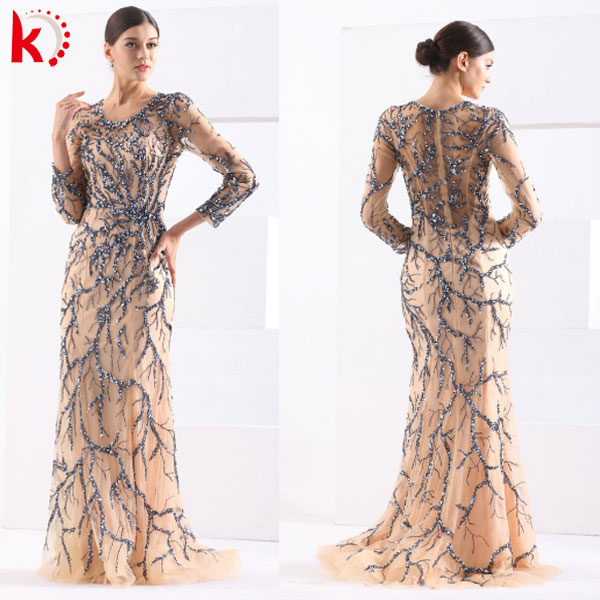 2015 New Arrival Gorgeous Embroidered Beads Evening Gown Elegant Sleeveless Design Tulle Vestidos De Fiesta