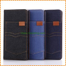 Cowboy Card Slot Jean Leather Wallet Flip Case For Sony X Compact