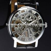 skeleton watches,Men's Black Leather Luxury Skeleton Dial Hand-Wind Up Mechanical Wrist Watch