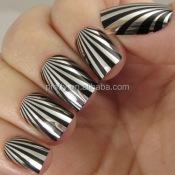 Silver rays designed metallic nails pretty woman brand new nails witn 2g nail glue inside