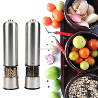 Electric Salt and Pepper Grinder Set Automatic Stainless Steel Salt and Pepper Ceramic Coarse Battery Power Round Head Set of 2