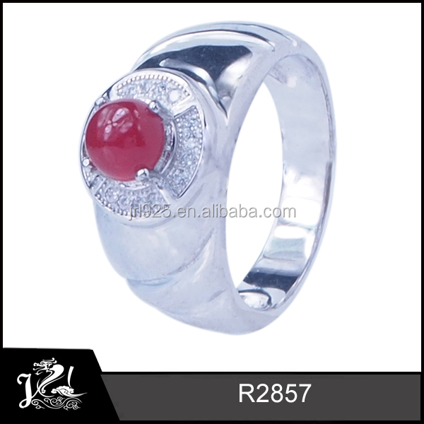 Stylish mens cz ring design pave setting shine gemstone silver ruby man ring for wedding