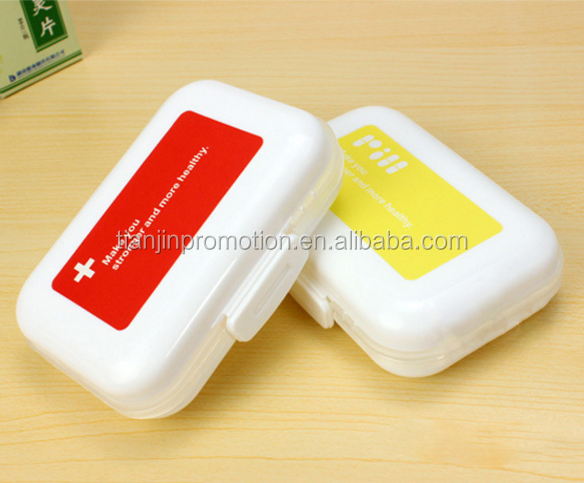 Custom logo promotional plastic travel pill container travel pill box
